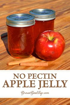 No Pectin Spiced Apple Jelly: Apples contain enough pectin naturally so no additional pectin is needed for this apple jelly recipe. Crab Apple Recipes, Jelly Recipes, Jam Recipes, Canning Recipes, Canning Tips, Canning Labels, Cooker Recipes, Sauces, Marmalade