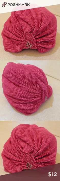 Turban Rockabilly Chemo Head Wrap Pink Hat Hot pink/fuscia chemo turban head wrap. Textured outer layer made up of small tiny loops, very nice. Lined inside with white soft Cotton. Front of turban has eight (8) tiny silver rings. Slip on style, with light elastic at back and front creating a gathered, layered look. Super for experiencing hair loss, under a hijab or alone as a head covering anytime. Unknown Accessories Hats