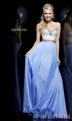 Sherri Hill Strapless Prom Dresses, Beaded Evening Gown -PromGirl #prom # dresses #gowns