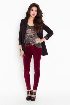 nasty gal wine velvet skinny jeans