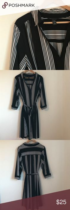 🗝 INC Dress Striped Shirt Dress sz 2X INC from Macy's Black & White Striped Shirt dress. Pull over style with belt. Thick polyester fabric with Spandex=super comfortable for work. 3/4 sleeves & knee length size 2X fits (18, 20, 22) Buttons are flawed and shown in pic. Price reflects flaws. ✨ EUC and from Pet Friendly Home. Bundle and Save with some of my other plus size listings ✨ INC International Concepts Dresses Midi