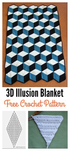 Free 3D Illusion Diamond Blanket Crochet Pattern