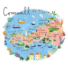 Cornwall Map Art Print by Clair Rossiter Cornwall Map, St Ives Cornwall, Devon And Cornwall, Map Of Cornwall England, Looe Cornwall, Cornwall Beaches, England Map, England Ireland, Framed Maps