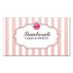 Cupcake Bakery Pink  Cute Elegant Modern Business Card Template