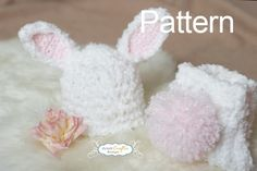 Crochet Baby Hat, bunny hat pattern for purchase on etsy