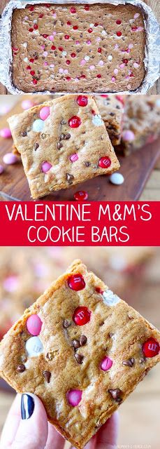 Easy Valentines Day Cookies: M&Ms Valentine's Day Cookie BarsYou can find Valentine treats and more on our website.Easy Valentines Day Cookies: M&Ms Valentine's Day Cookie Bars Valentine Desserts, Valentines Day Cookies, Valentines Baking, Valentine Treats, Holiday Treats, Holiday Desserts, Valentine Cookie Recipes, Valentine Food Ideas, Kids Valentines