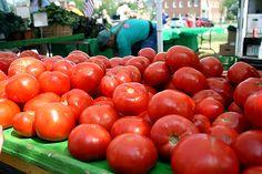 Fresh tomatoes at the Carmel Farmers' Market, Indiana