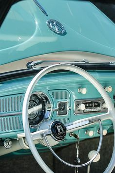 1962 Volkswagen Vw Beetle Cabriolet Steering Wheel Photograph by Jill Reger