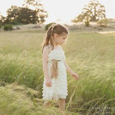 Ivory Flower Girls Dress with Toffee Sash  by EverythingRuffles, $65.00