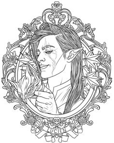Lucien Vanserra, Emissary to the Spring Court and generally mischievous foxy fae! He's one of the characters in Sarah J. Maas's series A Court of Thorns and Roses! Colored version coming soon!