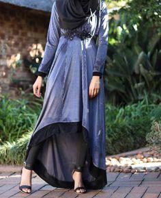 Grey Velvet Hi-Low Dress by Ruhee Collection   My Online Souk   www.myonlinesouk.co.za Hi Low Dresses, Modest Dresses, Eid, Tulle, Ballet Skirt, Velvet, Grey, Skirts, Clothes