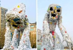 Monster puppets made from plastic bags.