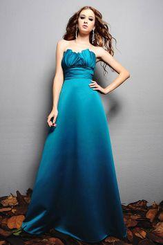 Scalloped-edge A-line floor-length satin bridesmaid dress