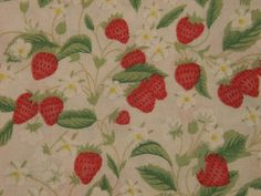 Vintage 1960s quilt fabric in highquality prewashed cotton with printed red strawberrys and green leafes on white bottomcolor. $5.50, via Etsy.