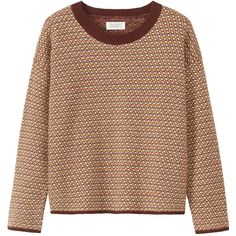 Toast Aldor Sweater (570 HRK) ❤ liked on Polyvore featuring tops, sweaters, jacquard top, jacquard sweater, drop-shoulder tops, holiday sweaters and long sleeve sweaters