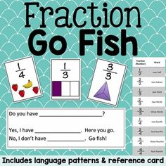 Fraction Go Fish is a version of go fish where students practice the language of fractions by asking students for a specific fraction. A cheat sheet is included so that students practice the correct fraction name. First Grade Reading, Third Grade Math, Grade 1, Second Grade, Fraction Games, Math Help, Student Learning, Teaching Math, Maths