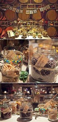 Wedding Ideas: a DIY Favor Trail Mix Bar, colored m, white chocolate chips, granola bites, etc