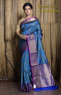 Tanchoi Banarasi Silk Saree in Shades of Blue