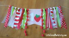 Strawberry shortcake birthday banner by LittleGreenMarket on Etsy