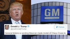 "TRUMP JUST LIED ABOUT GM AND THEIR RESPONSE IS PERFECT. General Motors was the target today as Trump grossly misrepresented the production numbers and sales destinations of the auto manufacturer's Chevy Cruze line. General Motors fired back in a statement given to CNBC... (Click on ""Visit"" for full article.)"