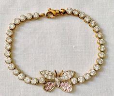 MAGNIFIQUE BRACELET EN OR JAUNE / BLANC ET TOPAZES ROSES MOTIF PAPILLON-LOURD in Bijoux, montres, Joaillerie, Bracelets | eBay