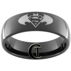 Black Dome Tungsten Carbide Batman Superman by CustomTungsten Superman Ring, Batman And Superman, Batman Stuff, Batman Wedding Rings, Stackable Diamond Rings, Topaz Ring, Engagement Ring Settings, Band, Crystal Earrings