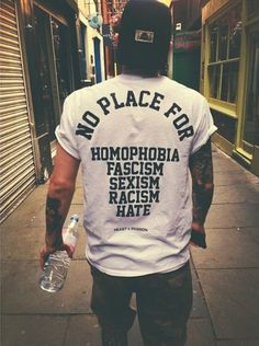 In the punk culture everyone is equal. There is no place for racism homophobia - Quotes T Shirt - Ideas of Quotes T Shirt - In the punk culture everyone is equal. There is no place for racism homophobia fascism sexism or hate in general. Basic Fashion, Mens Fashion, Fashion Top, Fashion Black, Graphic T Shirts, Herren T Shirt, Lgbt, Streetwear, Shirt Designs