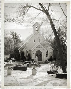 white church in snow