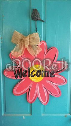 Hot pink flower door hanger