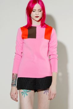 Vintage 70s Pink Wool Color Block Ski Sweater by White Stag #vintage #pink #70s #pinkhairedmodel #tattoo #thriftedandmodern