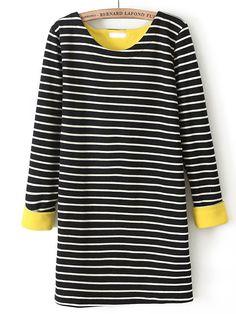 Black Long Sleeve Striped Loose T-Shirt US$27.05