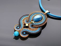 Blue gray graphite Soutache necklace with Jadeite. Soutache Pendant, Soutache Necklace, Earrings, Handmade Necklaces, Jewelry Necklaces, Beaded Embroidery, Blue Grey, Turquoise Bracelet, Art Conservation
