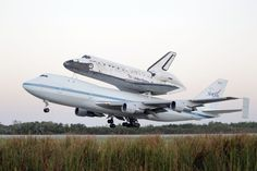 Space shuttle Discovery atop a 747 carrier jet departs the Kennedy Space Center, Tuesday, April in Cape Canaveral, Fla. Discovery is being transported to the Smithsonian National Air and Space Museum in. Washington Dc, Kennedy Space Center, Florida, Air And Space Museum, Space And Astronomy, Down South, Sunshine State, Space Shuttle, Space Travel