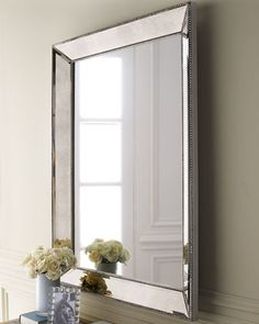 "Beaded Mirror at Horchow. 35.5""w x 3.5""D x 48""T. Great dimensions for master. But backordered Late Auguest Early September"