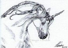 Unicorn Fantasy Equine Ballpoint Pen Drawing Original ACEO Art by Tanya London Www.Facebook.com/TanyaLondon.Art