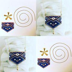 Collier tissage perles Miyuki Gold, bleu marine, noir et blanc : Collier par by-vanesse