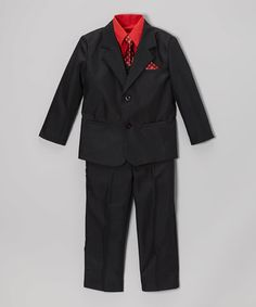 Another great find on #zulily! Black & Red Five-Piece Suit - Infant, Toddler & Boys #zulilyfinds
