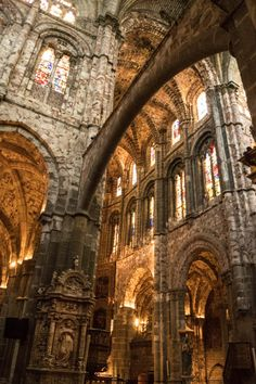 Catedral de Ávila. The Cathedral of Ávila is a Catholic church in Ávila in the south of Old Castile, Spain. It is in the Romanesque and Gothic architectural traditions. It was planned as a cathedral-fortress, its apse being one of the turrets of the city walls