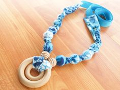 Nursing Necklace,Teething Necklace, Babywearing Necklace, Chew Beads, Breastfeeding Necklace - Blue and White Floral -$20 #NursingNecklace #NursingKnots