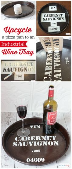 Upcycle a deep dish pizza pan into a wine barrel tray inspired by Ballard Designs
