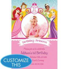 Custom Disney Princess 1st Birthday Photo Invitations