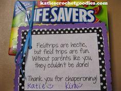 Field Trip Chaperoning Thank You - Katie's Crochet Goodies 4th Grade Classroom, Classroom Crafts, Classroom Fun, Kindergarten Classroom, Classroom Organization, Classroom Management, Future Classroom, Teacher Tools, Teacher Hacks