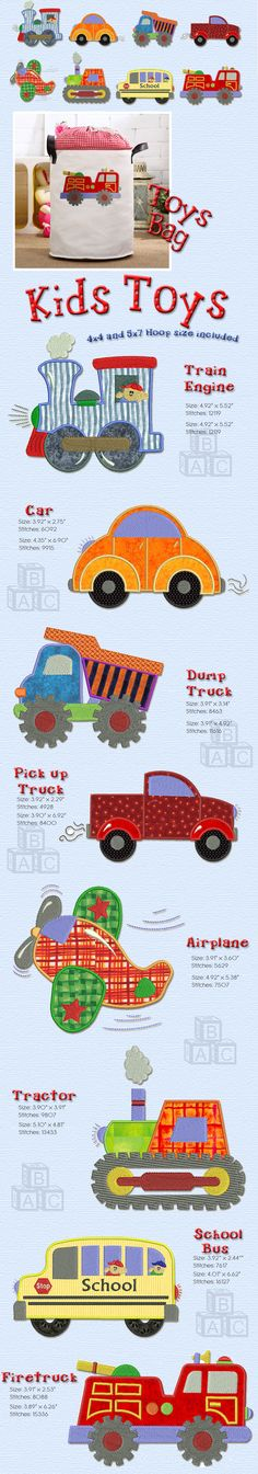 This simple and absolutely beautiful collection of toys for boys is perfect for a nursery or a boy's room. All in the transportation theme, they are easy and fast to make, with a large part of the body of the designs made using applique.Applique instructions included. Fabric bundle available in our website