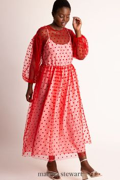 The inner slip is attached at the sleeves of this red hot dress. The sheer red polka dot overlay allows for a breezy style. #weddingideas #wedding #marthstewartwedding #weddingplanning #weddingchecklist Plus Size Red Dress, Plus Size Maxi Dresses, Plus Size Outfits, Fit And Flare Skirt, Plunge Dress, Plus Size Designers, Furla, Ladies Dress Design, Costumes For Women