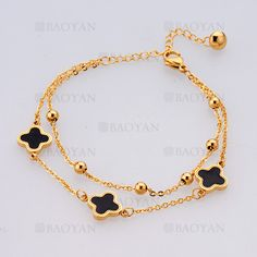 pulsera con trebol de dorado en acero inoxidable para mujer-SSBTG805182