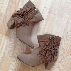"""Sugar Fringe Boot These Fringe Boots are right on trend!  Side Zipper with Fringe Trim. 2 1/2"""" Heel. Brand New in Box. Sugar Shoes Ankle Boots & Booties"""