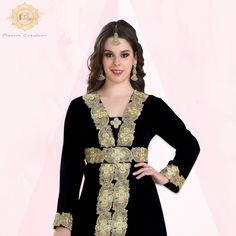 We at Maxim Creation have glammed up your basic black Kaftan to give you a one of a kind party outfit! ✨ A velvet kaftan with a golden hand embroidered border. This 2 piece is a classic must have! Product no: 8291 Black Kaftan, Kaftan Abaya, Black Velvet, Color Mixing, Wedding Gowns, Classy, Lace, Womens Fashion, Party