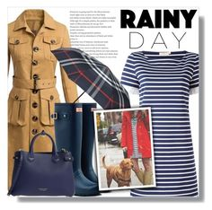 """Splish Splash: Rainy Day Style"" by queenvirgo ❤ liked on Polyvore featuring Tory Burch, Burberry and Hunter"