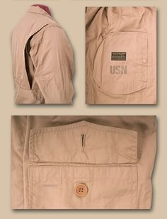 Construction details for a khaki zip front flight jacket. The M-421A was the standard issue summer-weight flight jacket for all Navy and Marine Corps pilots engaged in Pacific operations during WWII. Buzz Ricksons