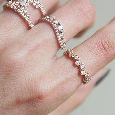CZ Bezel Cluster Rose Gold Wedding Ring Sterling Silver - kellinsilver.com